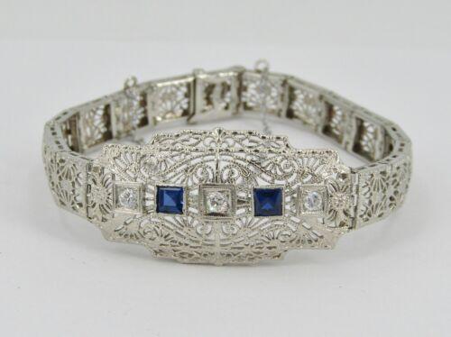 "Art Deco 14k White Gold 6.25"" .33tcw Diamond & Sapphire Bracelet - 12.23 Grams"