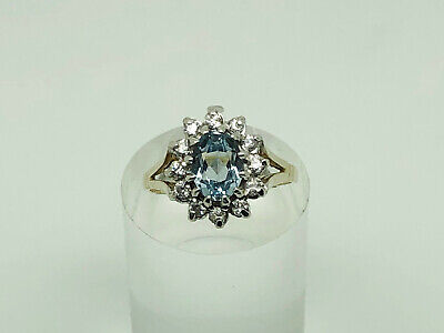Gorgeous Vintage Gold on Sterling Silver Topaz & CZ Cluster Cocktail Ring Size N