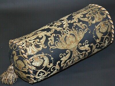 VERSACE STYLE BOLSTER CUSHION BLACK & GOLD ORNATE TASSELLED FEATHER CUSHION USED