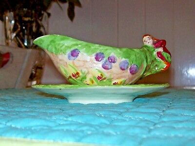 RARE,Vintage, c.1930,Royal Winton' Pixie Ware', Sauce Boat & Stand,Hand Painted
