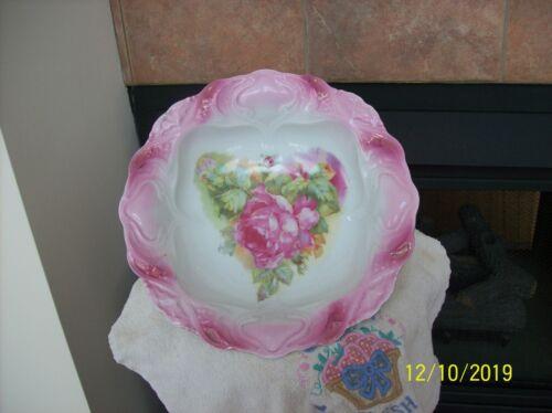 Elegant Pastel Pink Large Rose Floral Porcelain China Large Antique Serving Bowl