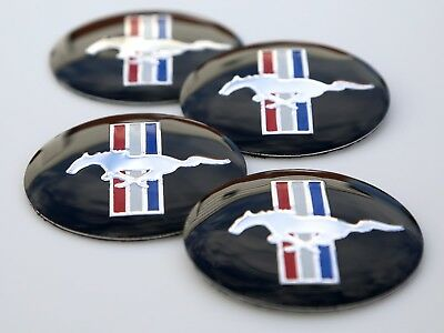 4x MUSTANG Wheel Center Cap Sticker Emblem Decals For Ford 2.25