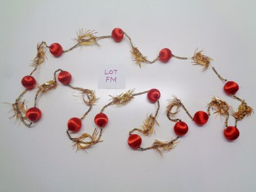 VINTAGE CHRISTMAS MERCURY GLASS BEAD & TINSEL 8 FT GARLAND LOT FM