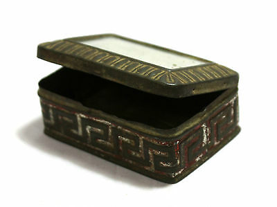 OLD VINTAGE HAND MADE UNIQUE VERY RARE TIN / IRON MIRROR BOX MADE IN GERMANY