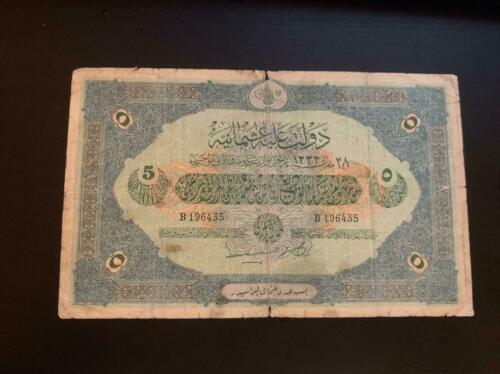 TURKEY  OTTOMAN EMPIRE 1331 /1915 5 LIRA LIVRE 1912