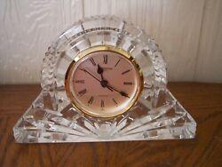 Waterford Irish Crystal LARGE Cottage Mantel Clock Lismore Gold Accent Ireland