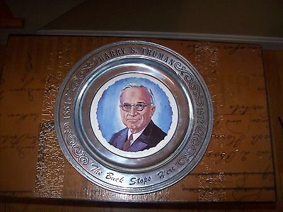 """Vtg.Harry Truman """"The Buck Stops Here """" Collectible Pewter Plate First Edition"""