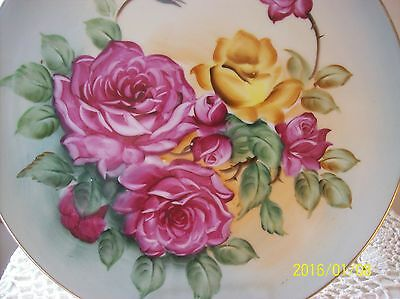 Lefton Vintage Roses Handpainted Porcelain Plate Wall