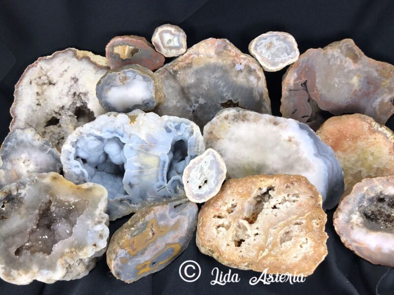 "Lapidary ""Cutting Service"" by the inch ADD ON Geode Nodule Agate Rock Half Cuts"