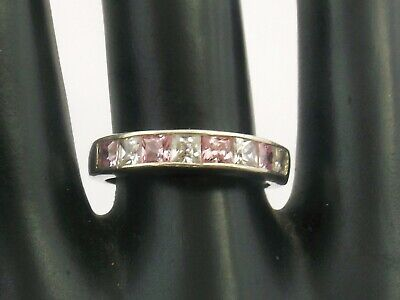 Sterling Silver Half Eternity Ring tension set pink and clear CZ stones size O