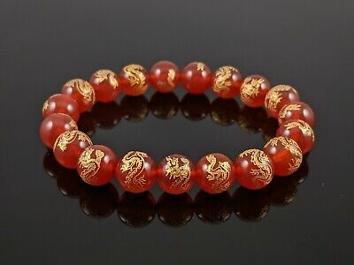 Natural Red Agate Dragon Carved Round Stone Bead Stretch Bracelet