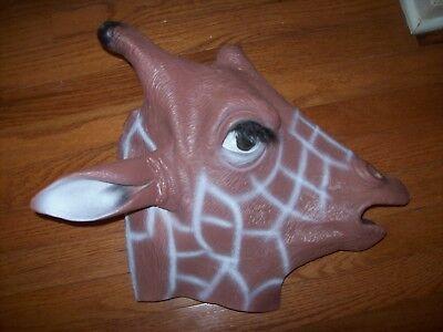 African Safari GIRAFFE Head Full Face Latex  Halloween Mask  Jeffrey Toys R US - Latex Giraffe Mask