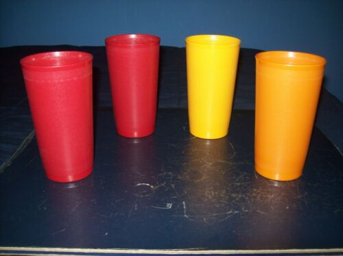 VINTAGE TUPPERWARE 12 OZ TUMBLERS GLASSES CUPS #873 LOT OF 4 GOOD CONDITION