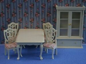 Dolls House Miniature 1/12th Scale Cream Dining Table, 4 Chairs and Wall Unit