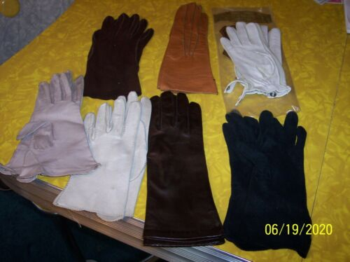 Vintage Leather Gloves Half Length Size SM Lot of 7 Pairs 1 Deerskin Unused