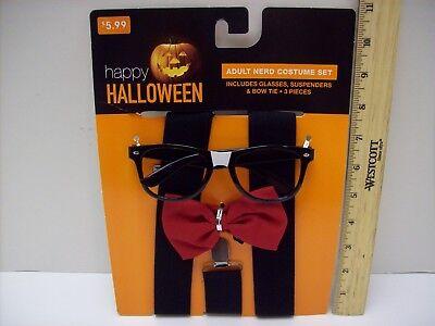 Nerd Adult Costume Accessory Set- Suspenders Bow Tie & Glasses Red Black NEW (Nerd Suspenders)