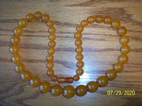 Vintage Antique Butterscotch Plastic Phenolic Lucite Resin Bead Necklace
