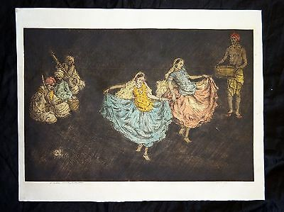 "1920s English WC Etching Print ""Nautch Dancing Girls"" by Charles Bartlett (Jen)"