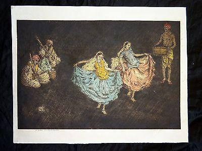 Nautch Girl (1920s English Woodblock Print