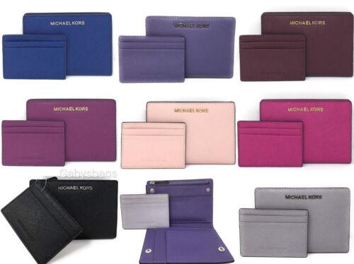 Michael Kors Jet Set Card Case Carryall Medium Wallet Blue Pink Black Purple