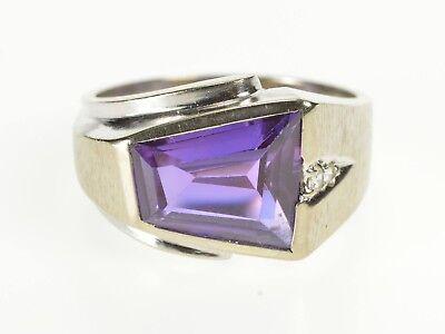 10K 1940's Ornate Amethyst White Topaz Men's Fashion Ring Sz 10 White Gold *14