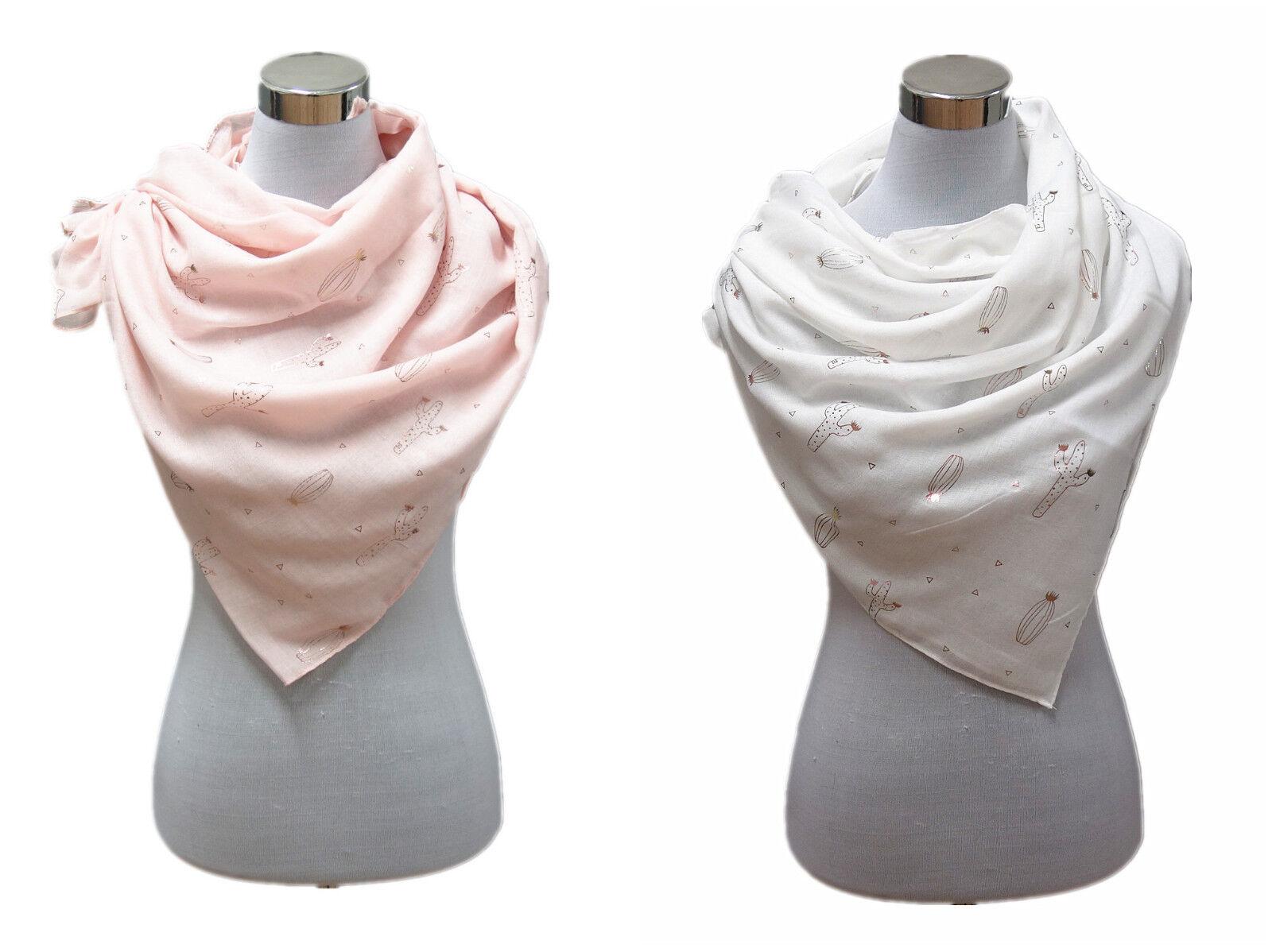 2 Damen Schal Sommer Tuch Weiß und Rosa Gold Dünn Kaktus Dreieck Muster Y6601