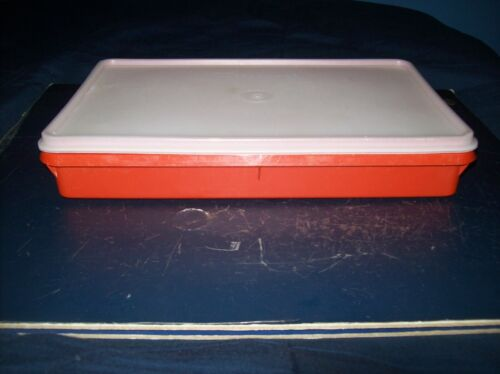 """VINTAGE TUPPERWARE RED RECTANGLE STORAGE CONTAINER WITH LID 11"""" X 6 1/2"""""""