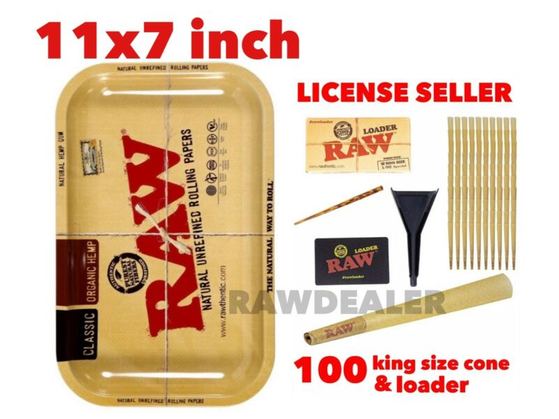 RAW Classic king size Cones(100 packs)+raw cone loader+raw 11x7  inch tray
