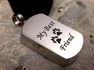 Mans Best Friend Cremation Urn Pendant for Ashes Dog Pet Cat Mens Memorial (Gift For Best Friend Man)