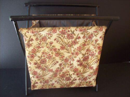 Vintage Wood Frame Folding - Basket - Caddy - Knit Yarn Bag