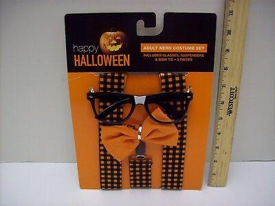 Nerd Adult Costume Accessory Set- Suspenders Bow Tie & Glasses Orange Black NEW (Nerd Suspenders)