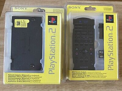 Playstation 2 PS2 Network Adaptor Ethernet + DVD Remote Control SONY Neuf...