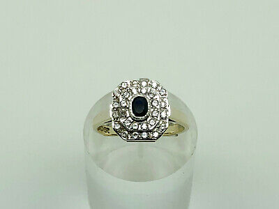 Gorgeous Vintage Gold on Sterling Silver Sapphire & CZ Cocktail Ring Size N 1/2