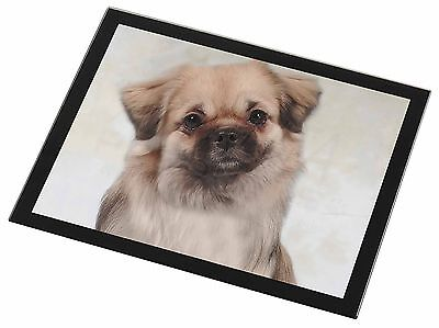 Tibetan Spaniel Dog Black Rim Glass Placemat Animal Table Gift, AD-TS1GP