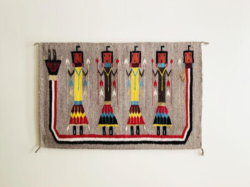 Vintage Colorful Navajo Yei Rug Native American Made Grey Blanket 5 Yei Figures
