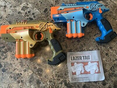 2 Nerf Phoenix LTX Lazer Tag Guns 2008 Laser Gold Blue Tiger Electronics Tested