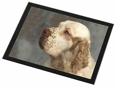 Clumber Spaniel Dog Black Rim Glass Placemat Animal Table Gift, AD-CS1GP