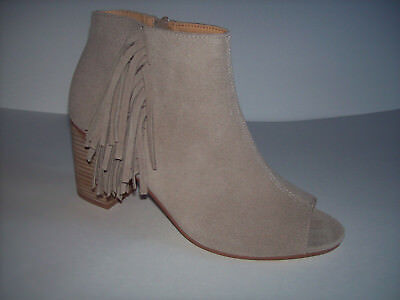 New KENSIE ERIKA women's sand stone suede leather zip ankle booties US Sz 10M