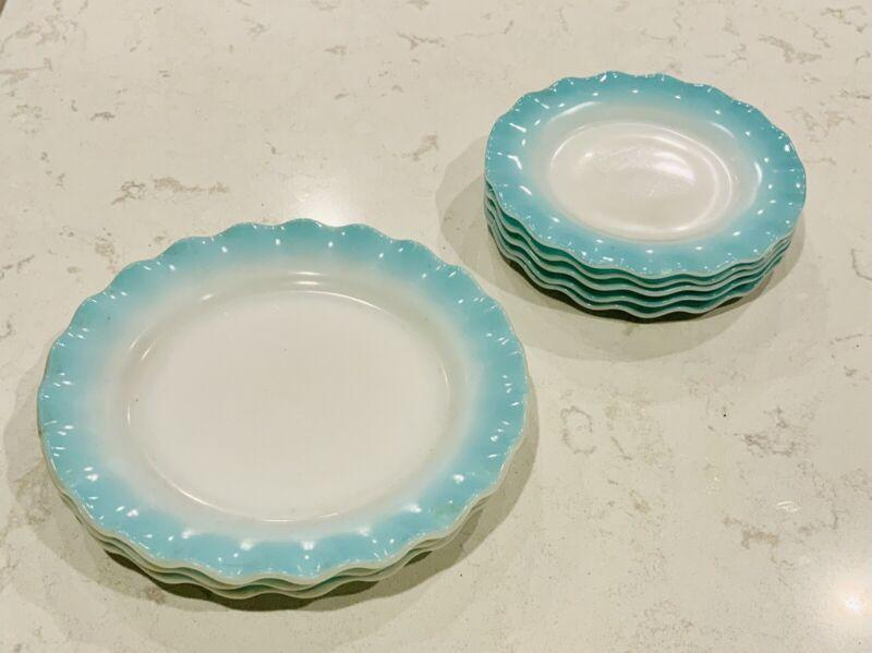 Hazel Atlas BLUE RUFFLED SALAD and DINNER PLATES