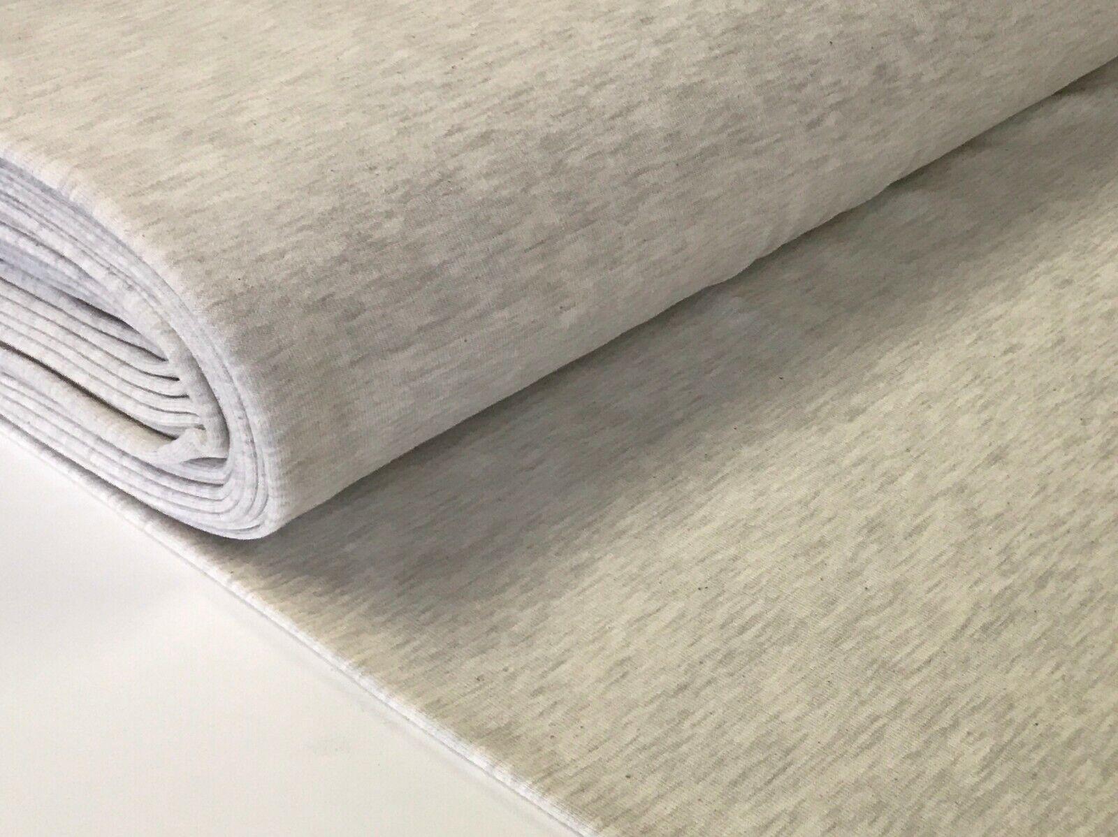Sweatstoff meliert uni viele Farben METERWARE ÖKOTEX angeraut 140 cm breit Wollweiß