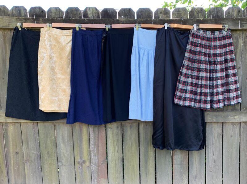 Resale Vintage Clothing Lot Of 7 50s 60s Womens Skirts Brocade Wool Satin Black