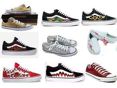 New Custom Vans and Converse Shoes Red Rose, Bape, Pink Rose, Glitter Shoes - Custom Converse Shoes