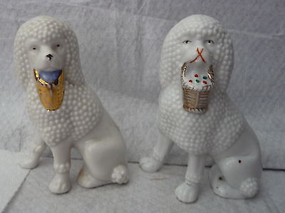 2 antique white poodles basket in mouth statues display decor painted details d