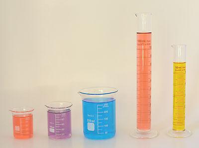 2 Beaker Sets 250ml 100ml 50ml 2 Cylinder Sets 100ml 50ml Lab Glass New