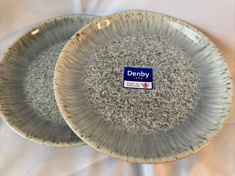 "Denby Halo Speckle Medium Coupe Plate Salad Appetizer Dessert 8.25"" NWT"