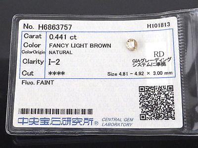 0.441 Carat I2 FANCY LIGHT BROWN Round Cut Loose Natural Diamond +Grading