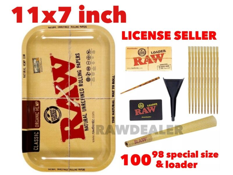 RAW Classic 98 special size Cones(100 packs)+raw cone loader+raw 11x7 inch tray