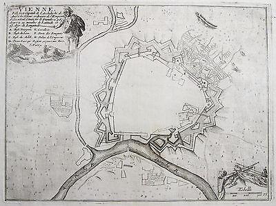 de Fer: Original Kupferstich Stadtplan Wien Türkenbelagerung Österreich; 1693