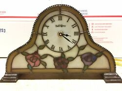 Dale Tiffany Illuminated Stained Glass Rose Mantle Clock