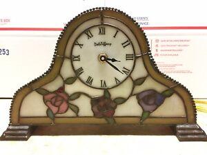 Dale Tiffany Illuminated Stained Gl Rose Mantle Clock